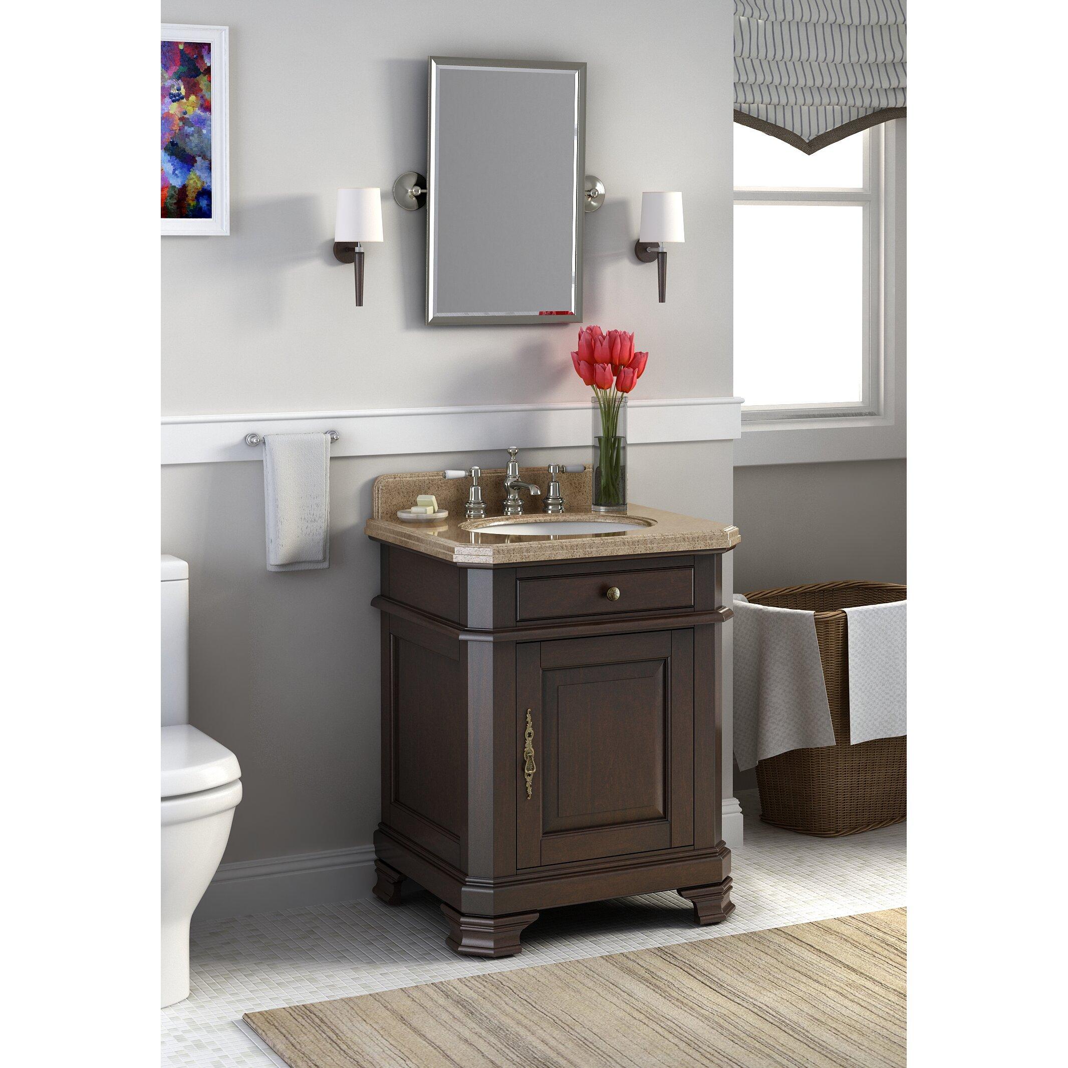 """Lanza Perkin 28"""" Single Bathroom Vanity Set with Mirror"""