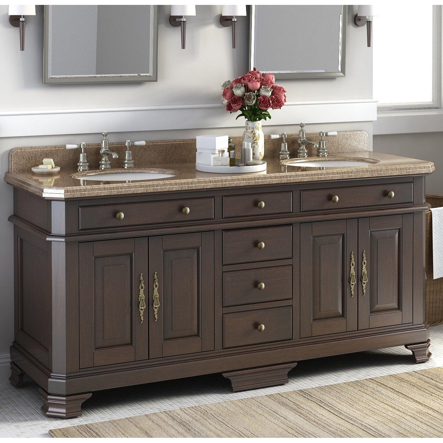 """Lanza Perkin 72"""" Double Bathroom Vanity Set & Reviews"""