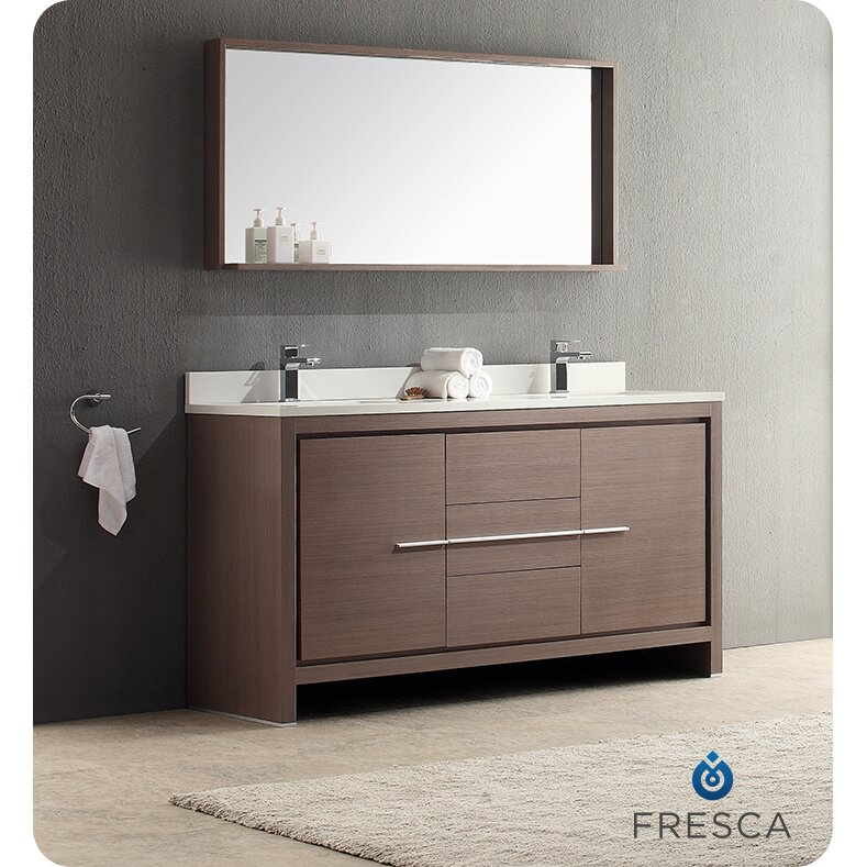 Fresca Allier 60 Double Modern Bathroom Vanity Set With Mirror Re