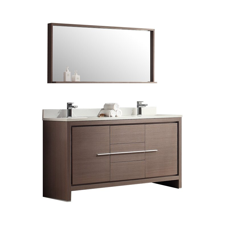 Fresca allier 60 double modern bathroom vanity set with mirror reviews wayfair - Contemporary european designer bathroom vanities ...