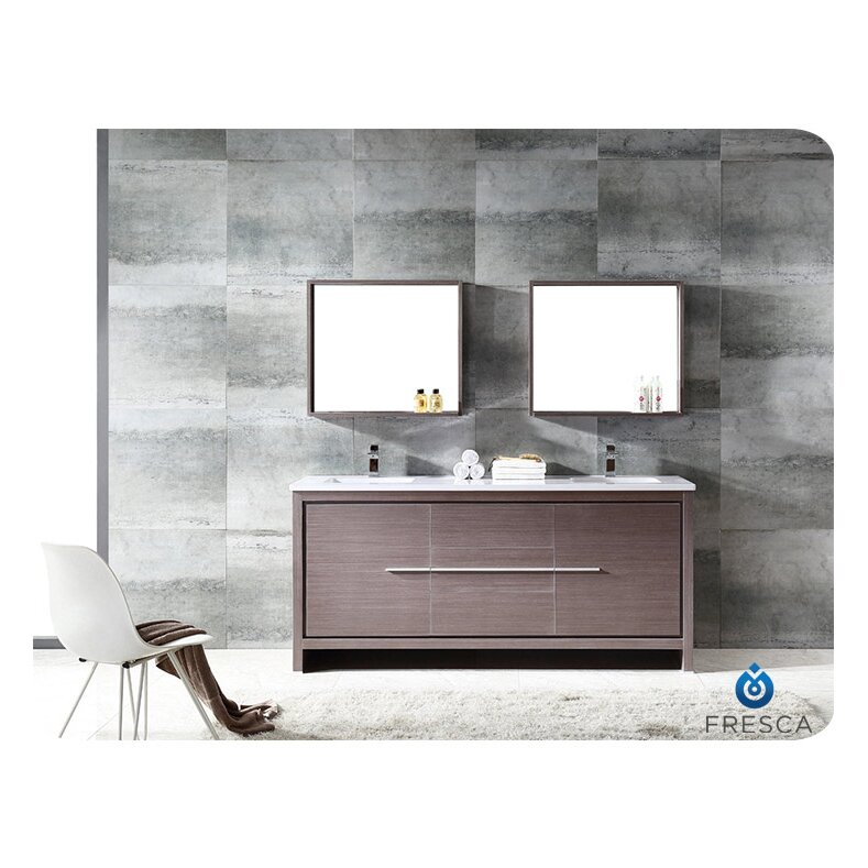 Fresca trieste allier 72 double modern sink bathroom vanity set with mirror reviews wayfair - Kona modern bathroom vanity set ...