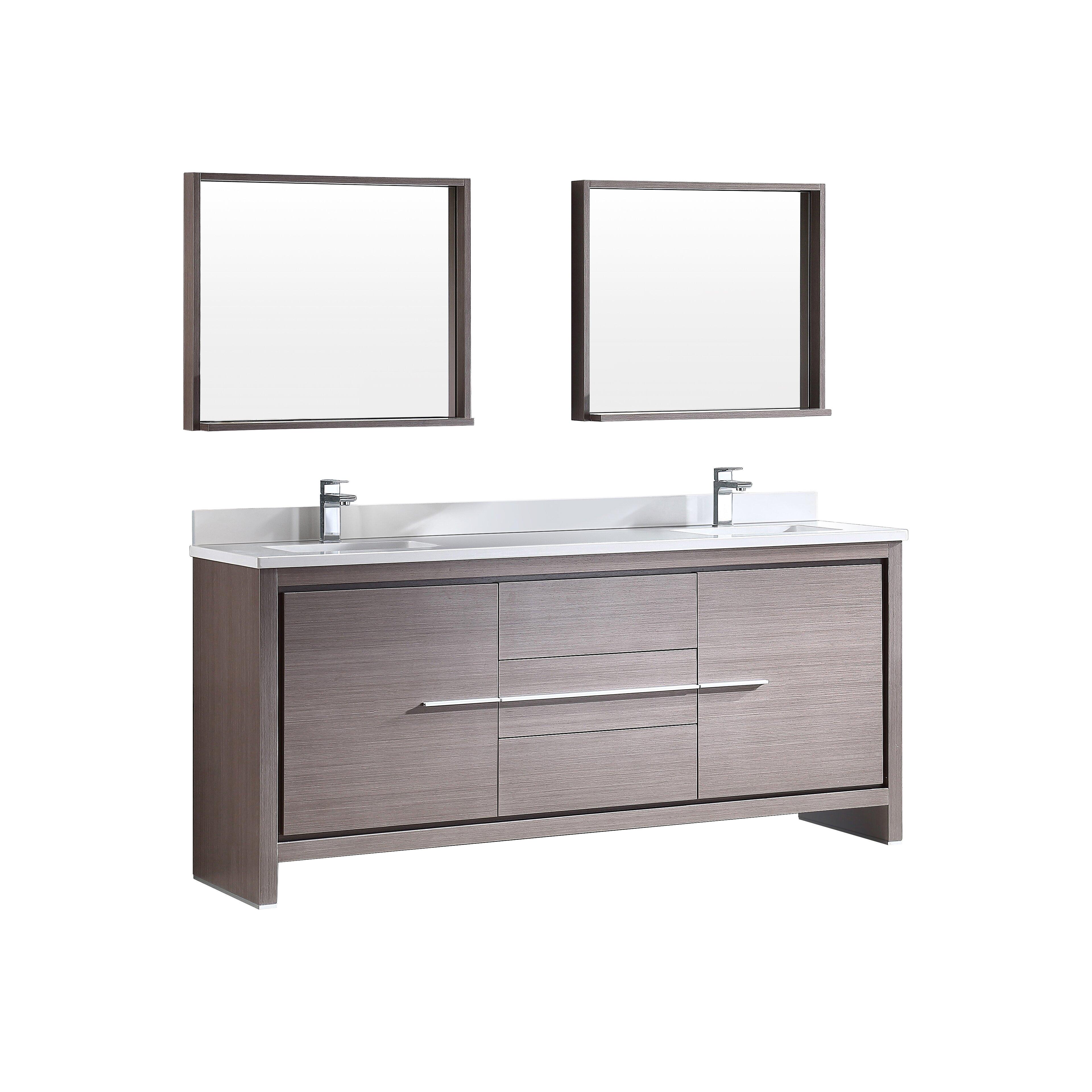 Fresca trieste allier 72 double modern sink bathroom for Modern double sink bathroom vanity