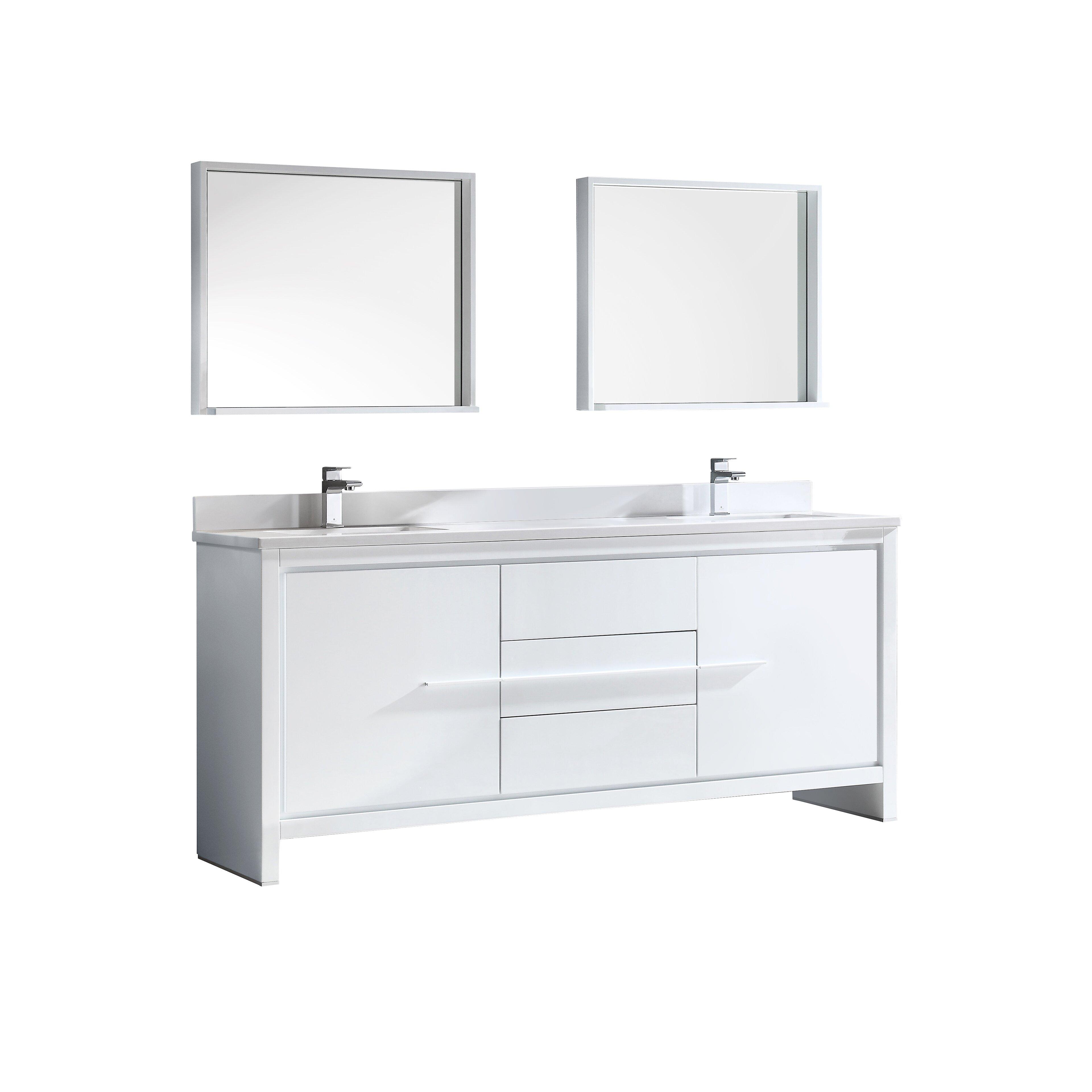 "Fresca Trieste Allier 72"" Double Modern Sink Bathroom Vanity Set with Mi"