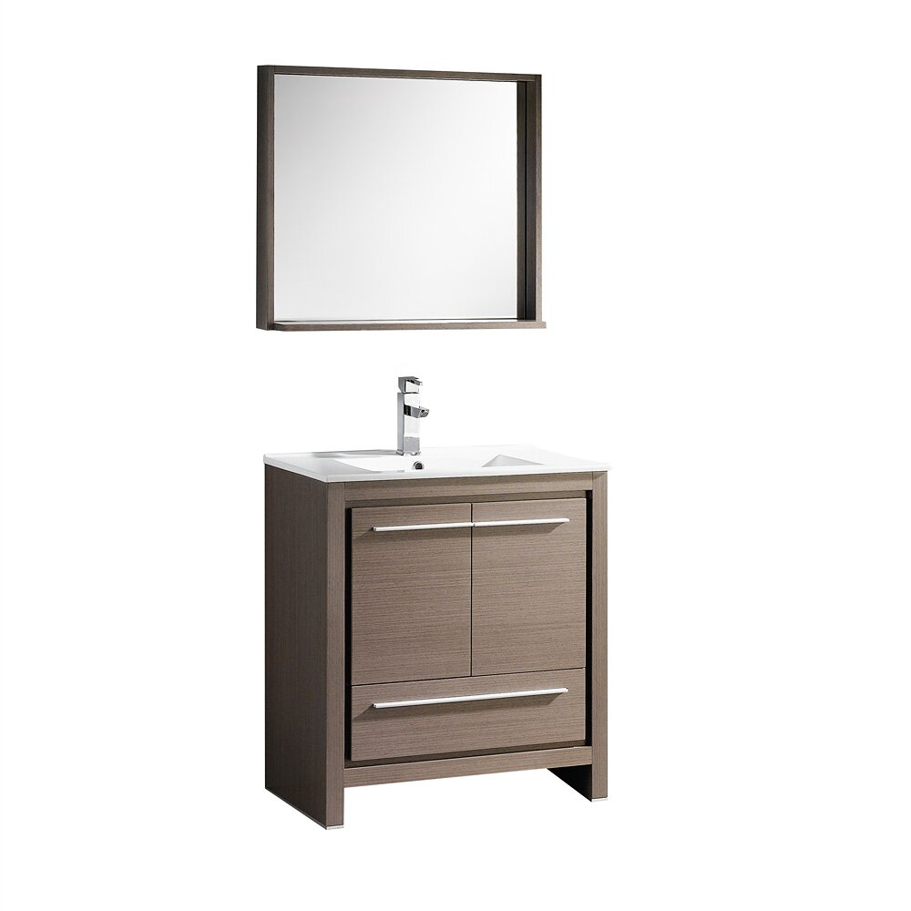 Fresca allier 30 single modern bathroom vanity set with for Bath and vanity set