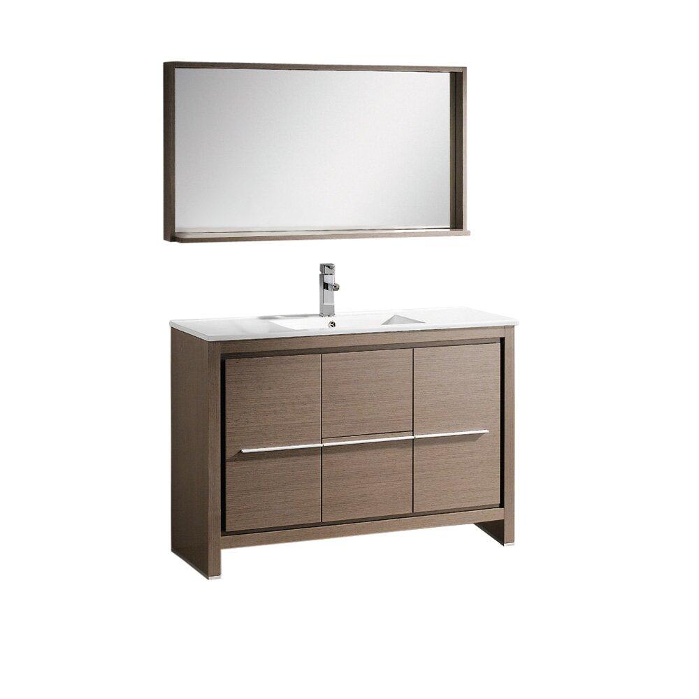 Fresca allier 48 single modern bathroom vanity set with for Mirrored bathroom set