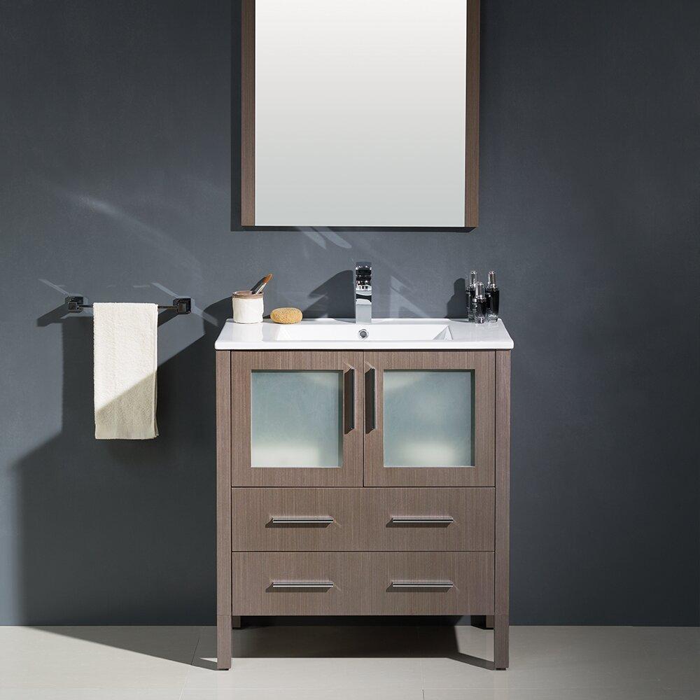 Fresca torino 30 single modern bathroom vanity set with for 30 modern bathroom vanity