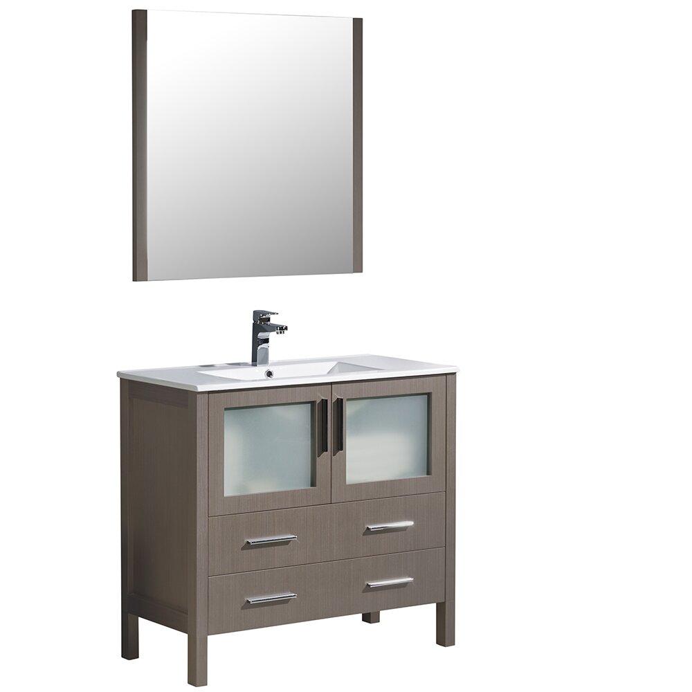 Fresca torino 36 single modern bathroom vanity set with for Modern bathroom vanity mirror