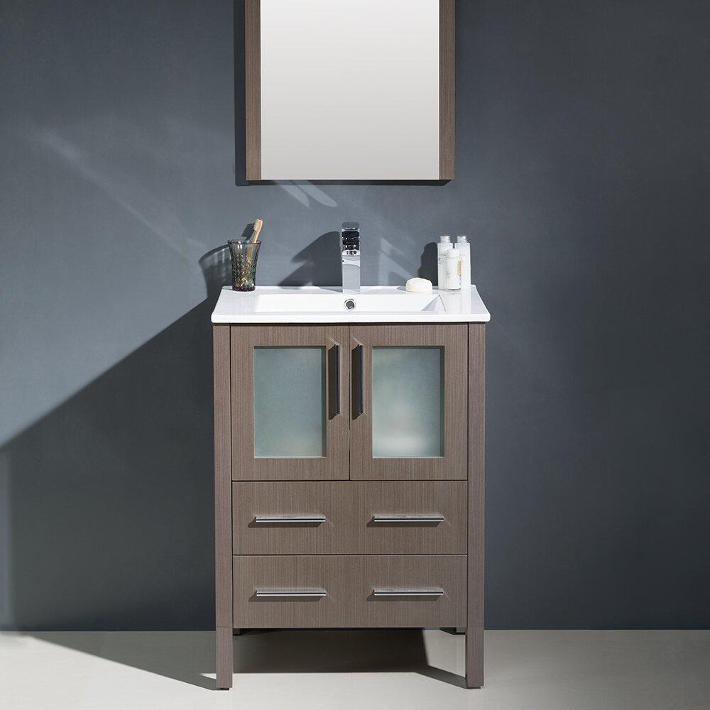 Fresca Torino 24 Single Modern Bathroom Vanity Set With Mirror Reviews Wayfair