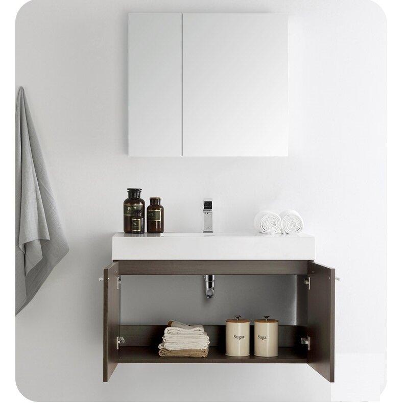 Fresca Senza 36 Vista Single Wall Mounted Modern Bathroom Vanity Set With Medicine Cabinet