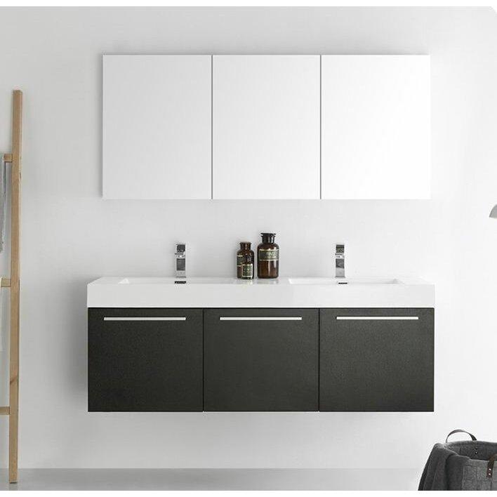 fresca senza 60 vista double wall mounted modern bathroom
