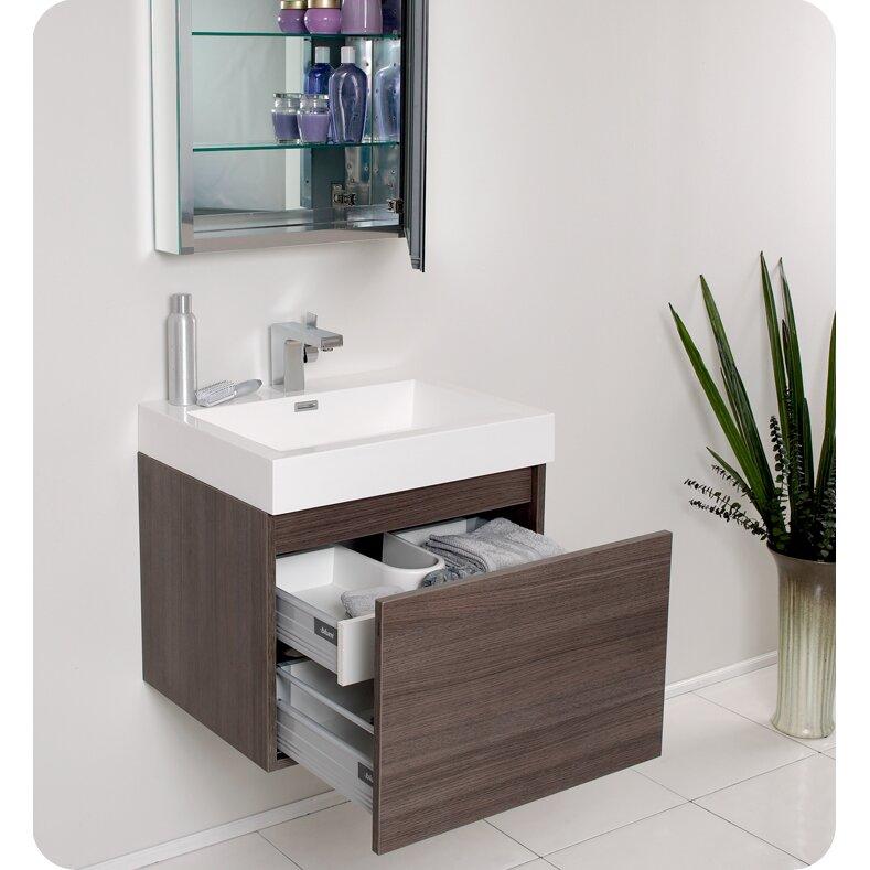 Fresca Senza 24 Single Nano Modern Bathroom Vanity Set With Mirror Reviews Wayfair