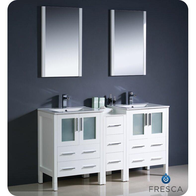 Fresca Torino 60 Double Modern Sink Bathroom Vanity Set With Mirror Reviews Wayfair