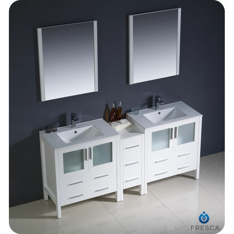 fresca torino 72 double modern sink bathroom vanity set with mirror