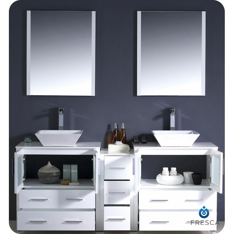 Fresca Torino 72 Double Modern Bathroom Vanity Set With Mirror Re