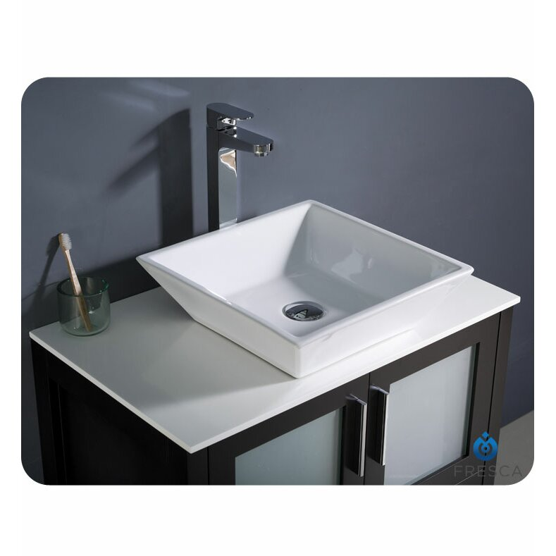 Fresca torino 30 single modern bathroom vanity set with for Kitchen set vessels