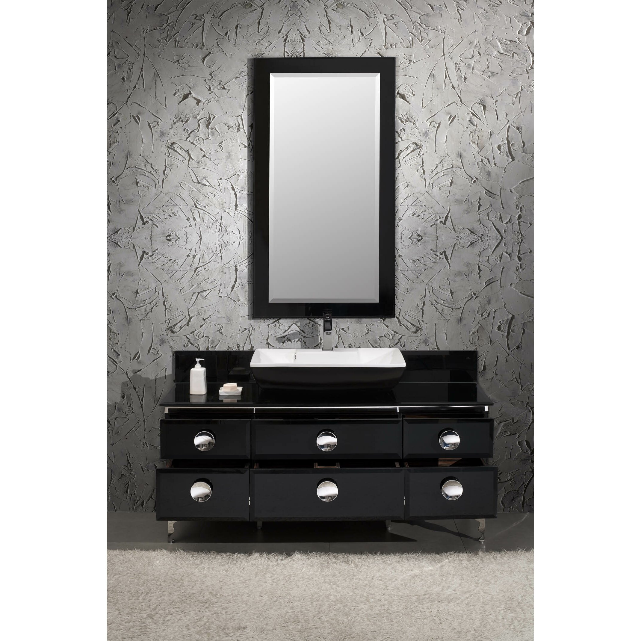 "Fresca Moselle 59"" Single Modern Glass Bathroom Vanity Set with Mirror &"