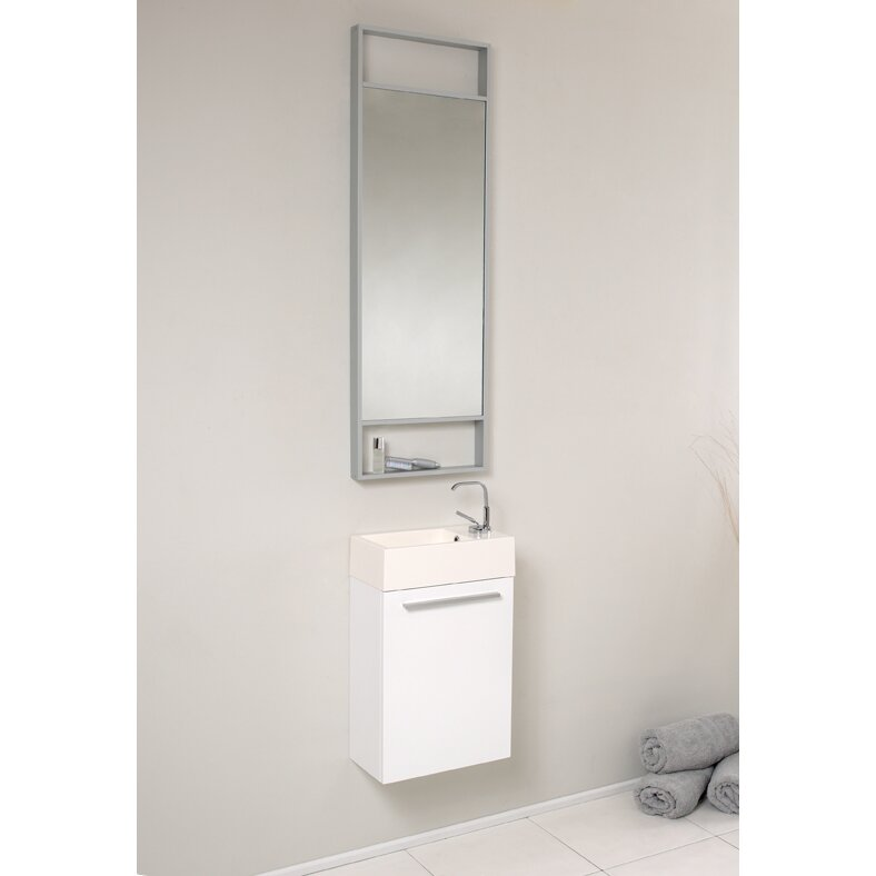 senza 16 single pulito small modern bathroom vanity set with mirror