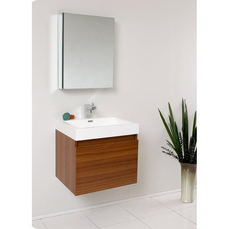 fresca senza 24 single nano modern bathroom vanity set with mirror
