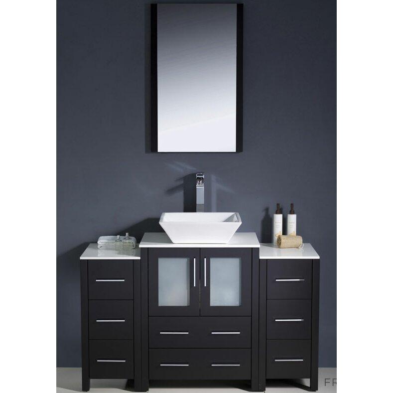 Fresca torino 48 single modern bathroom vanity set with mirror reviews wayfair - Linden modern bathroom vanity set ...