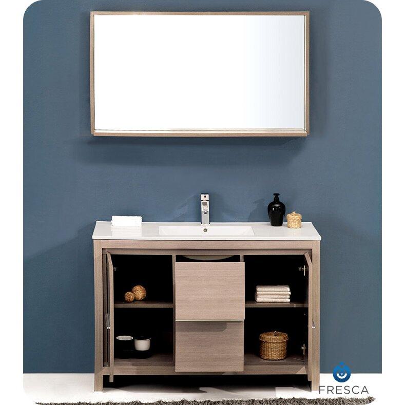 Fresca allier 48 single modern bathroom vanity set with mirror reviews wayfair - Linden modern bathroom vanity set ...