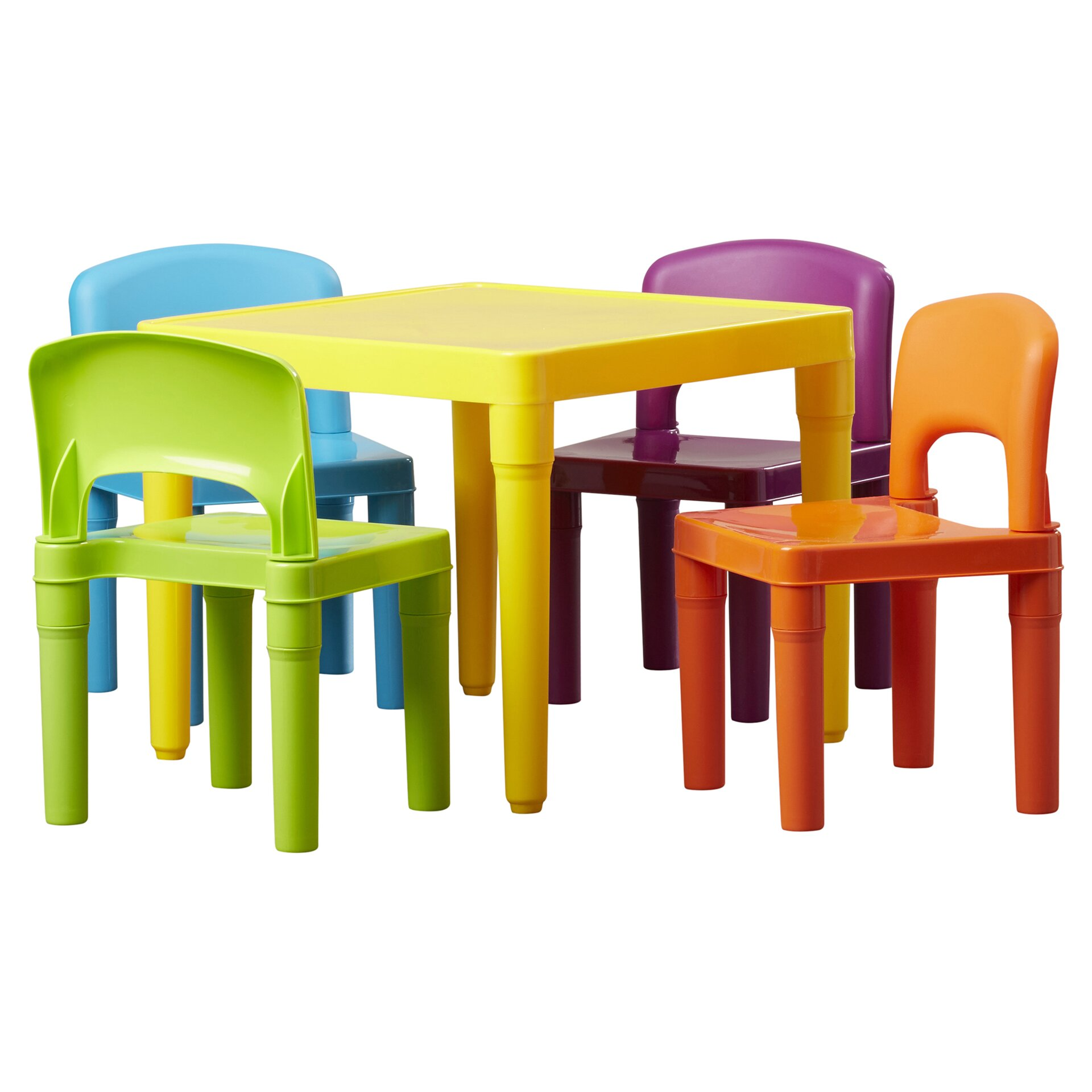 Tot tutors kids 5 piece plastic table and chair set for Table and chair set