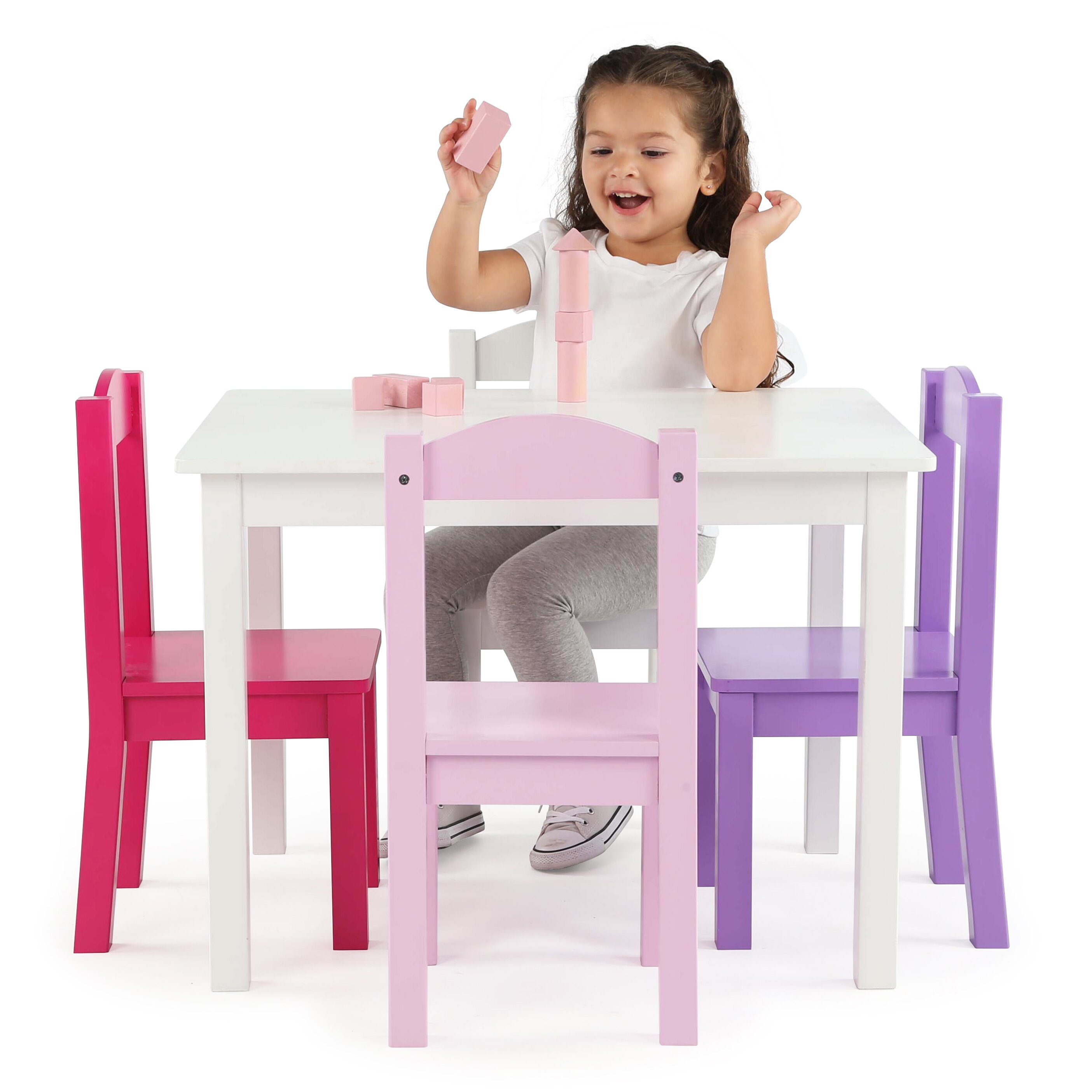 Tot Tutors Kids 5 Piece Rectangle Table and Chair Set