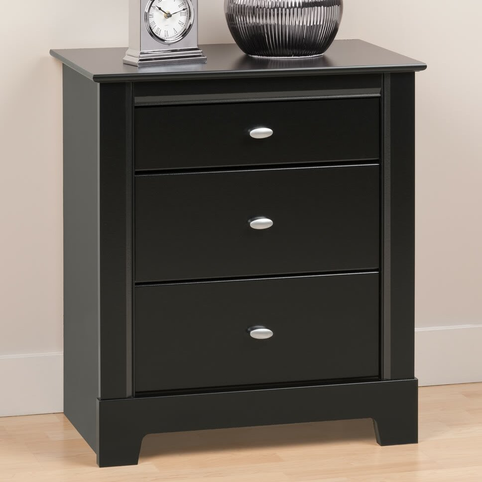 prepac kallisto black 3 drawer nightstand reviews wayfair. Black Bedroom Furniture Sets. Home Design Ideas