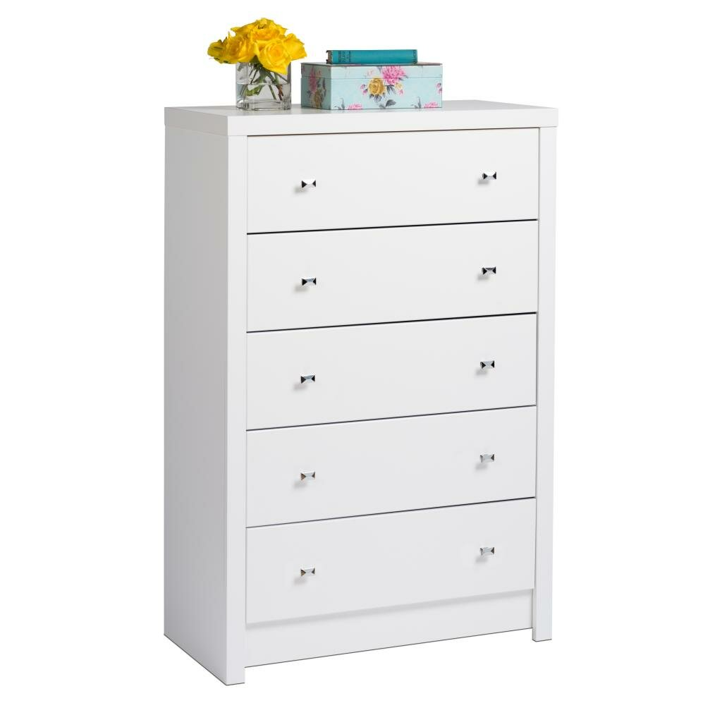 Prepac Calla White 5 Drawer Chest Reviews Wayfair
