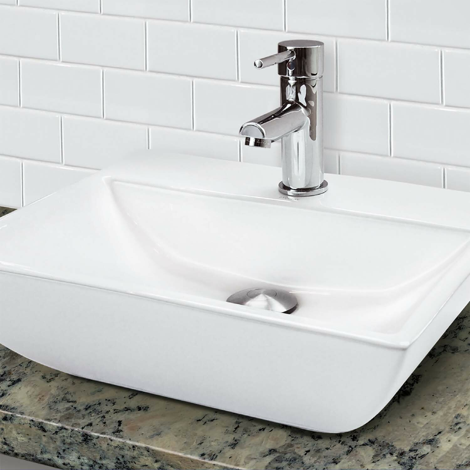 Decolav Classically Redefined 18 Wall Mounted Or Above Counter Rectangular Lavatory Sink With