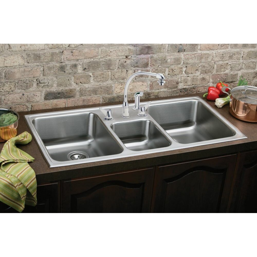 43 x 22 kitchen sink elkay gourmet 43 quot x 22 quot top mount kitchen sink amp reviews 7359