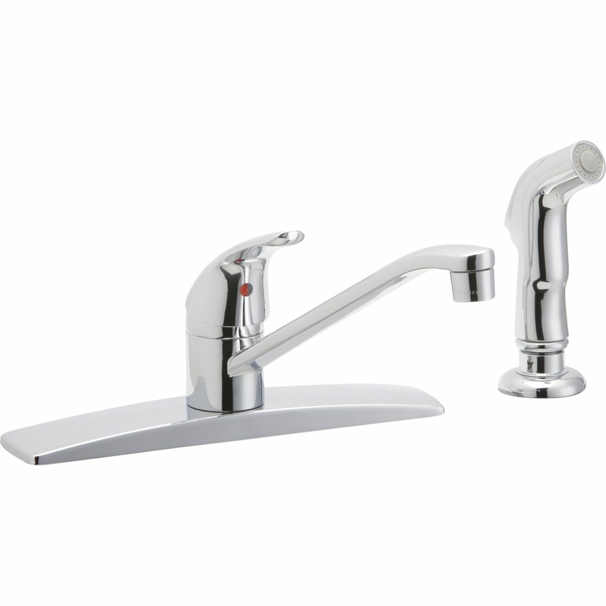 elkay single handle deck mount kitchen faucet with side spray